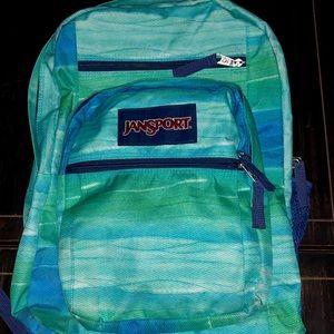 JanSport Big Student Backpack, green/blue, EUC!!